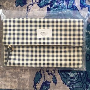 🆕 Clare V Blue and White Gingham Clutch